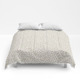 Beige and White Polka Dot Pattern Comforters