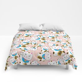 Maneki-neko good luck cat pattern Comforters