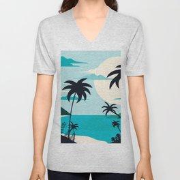 Coastal Blue Tropical Island  Unisex V-Neck