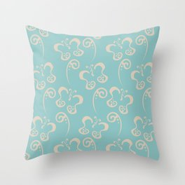 Aquamarine Beige Butterfly and Scroll Pattern V2 Color of the Year Aqua Fiesta and Sourdough Throw Pillow