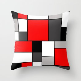 Red Black and Grey squares Deko-Kissen