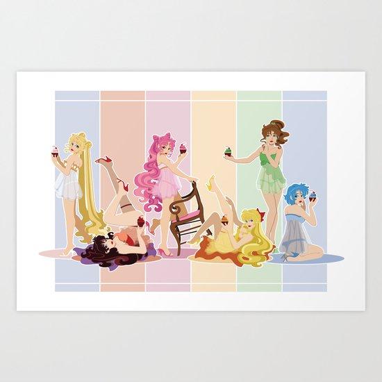 Sailor Moon Pinup - Cupcakes Art Print