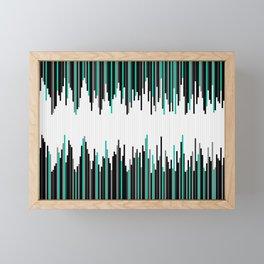 Frequency Line, Vertical Staggered Black, Gray & Teal Line Digital Illustration Framed Mini Art Print