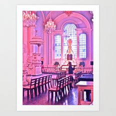 Praying in Pink Art Print