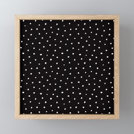 Minimal- Small white polka dots on black - Mix & Match with Simplicty of life Framed Mini Art Print