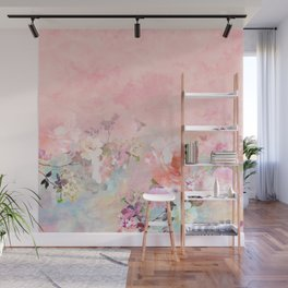 Modern blush watercolor ombre floral watercolor pattern Wall Mural
