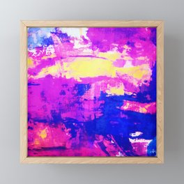 Modern Colorful Abstract Blue Purple Watercolor Framed Mini Art Print