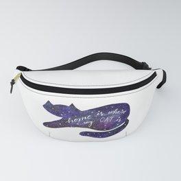 Watercolor Galaxy Cat - purple Fanny Pack