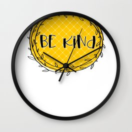 Be Kind Yellow Wall Clock