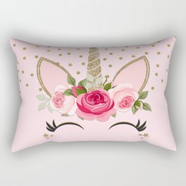 Pink & Gold Cute Floral Unicorn Rectangular Pillow