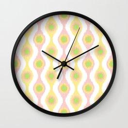 Ikat Stringed Beads Pattern - Pastel Sherbet Wall Clock