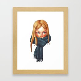 Blonde with Scarf Framed Art Print