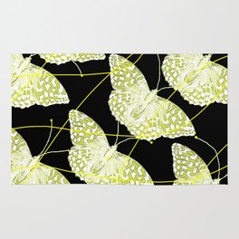 Butterflies on black background #decor #society6 Rug