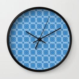 Driving in circles. Blue pattern Wall Clock
