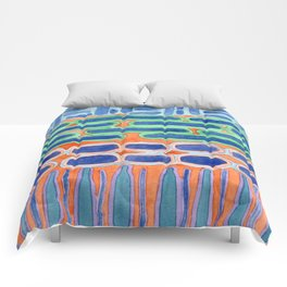 Blue Shapes Pattern Comforters