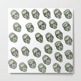 Green Faces Pattern - White Metal Print