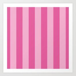 Bright Pink Cupcake Wide Cabana Stripes Art Print