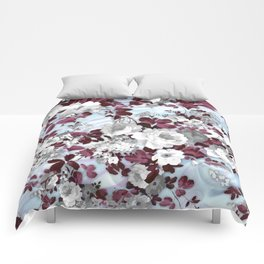 Boho burgundy white pastel marble floral pattern Comforters