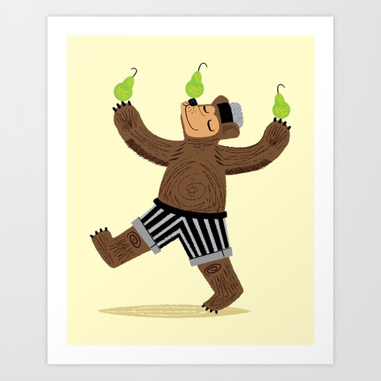 A Bear With Pears Art Print