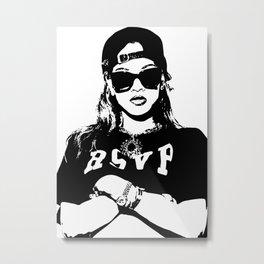 Rihanna Black and White Design Metal Print