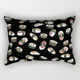 Sushi on Black Rectangular Pillow