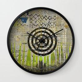 Bullseye Abstract Art Collage Wall Clock