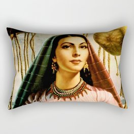 Jesus Helguera Painting of a Mexican Fisher Girl With Basket Rectangular Pillow