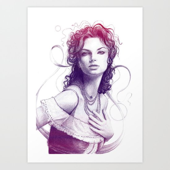 Beautiful Girl Portrait Art Print
