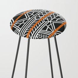 Tribal ethnic geometric pattern 022 Counter Stool