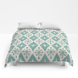 Mid Century Modern Atomic Triangle Pattern 710 Green and Beige Comforters