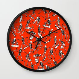 Grim Ripper Skater RED Wall Clock