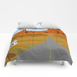 Route 66 Highway Illustration Comforters