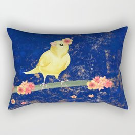Canary on Branch with Flowers Rectangular Pillow