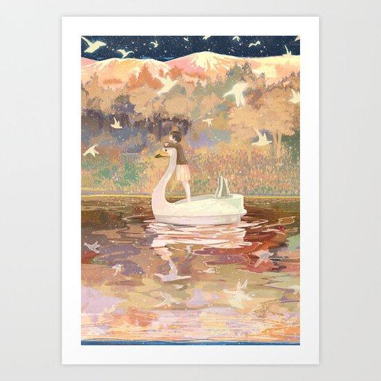Swan boat Art Print