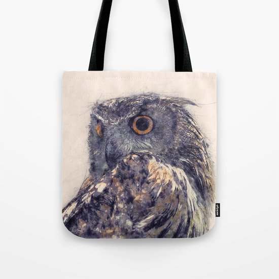 Great Horned Owl Painting Tote Bag