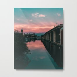 River Sunset Street Photography Metal Print