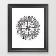 Brújula Frondosa Framed Art Print