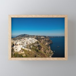 View of Thira, Santorini, Greece Framed Mini Art Print