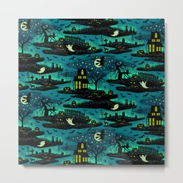 Halloween Night - Fox Fire Green Metal Print
