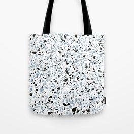 'Speckle Party' Blue Black and White Speckle Terrazzo Pattern Tote Bag