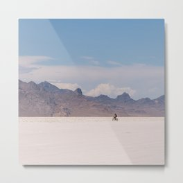 Bicycle Riding on the Boneville Salt Flats in Utah, Travel Photography Metal Print