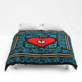 Apple Stained Glass Design Comforters