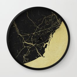 Barcelona Black and Gold Map Wall Clock