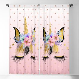 Floral Unicorn  Blackout Curtain