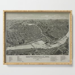 Vintage Pictorial Map of Chippewa Falls WI (1886) Serving Tray