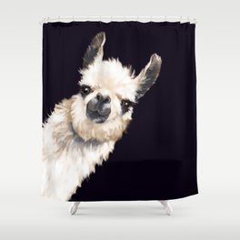 Sneaky Llama in Black Shower Curtain