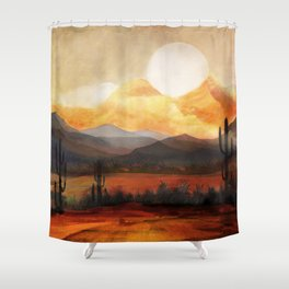 Desert in the Golden Sun Glow Shower Curtain