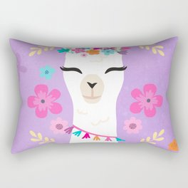 Cute Happy Llama - Purple Boho Alpaca with Flowers Rectangular Pillow