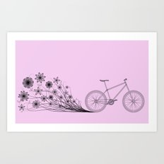 Cycling with flowers Art Print
