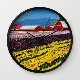 Tulip Fields Wall Clock